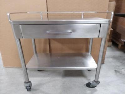 Stainless Steel 2 Layers & One Drawer Serving Medical Dental Lab Cart Trolley