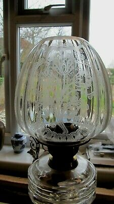Victorian Etched Glass Oil Lamp Globe Shade