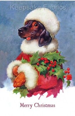 Dachshund Christmas Holly Fabric Quilt Block Multi Size FrEE ShipPiNG WoRlD WiDE
