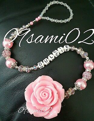 ❤Bling Rose Shamballa & Crystal Romany Dummy Clip Personalised pink !!❤❤