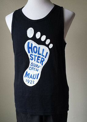 Hollister Men Graphic Tank Size L Black Graphic T-shirt 100% Cotton