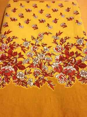"Beautiful Vintage Floral Rectangular Floral Fabric Tablecloth Yellow Red 86""x66"""