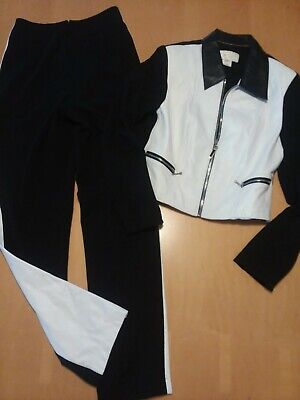 Vintage 80s CACHE Rare 2pc LEATHER & Stretch Sexy MOTO Riding Jacket S & Pants 4