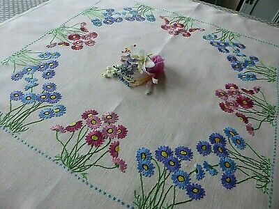 Vintage Hand Embroidered  Tablecloth - Delicate Circle Of Flowers