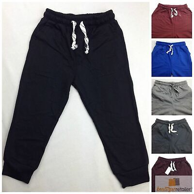 KIDS Skinny TRACK PANTS Slim Trousers Plain Tracksuit Pant Boys Girls Sizes 8-16
