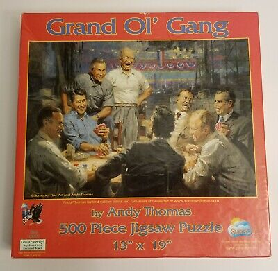 Grand Ol' Gang Andy Thomas 500 Piece Puzzle Republican Presidents Theme SunsOut