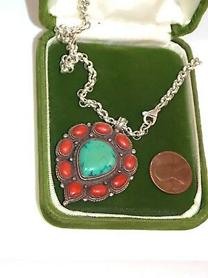VTG Ethnic Sterling Silver Blue Turquoise Red Coral Pendant Rolo Necklace 10b 82