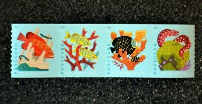 2019USA #5367-5370a 35c Postcard Rate - Coral Reefs - Coil Strip of 4  Mint  NH