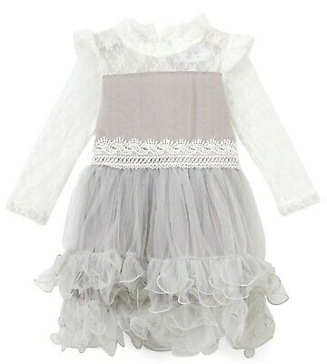 GIRLS grey lace ruffle OCCASION DRESS by BLOSSOM COUTURE 4Y