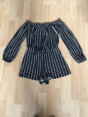 Womens/girls Brand New Boohoo Off The Shoulder Playsuit Black Stripe Size 6
