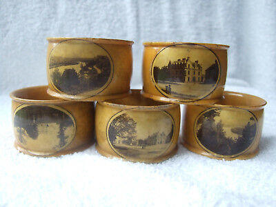 Part Set of 5 Antique Mauchline Ware Napkin Rings, Souvenirs of Grantown & Spey