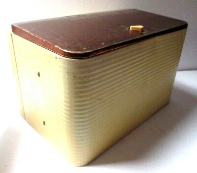 """Vintage Antique Copper Enamelware Hammered Metal Yellow Vented Bread Box 17"""""""