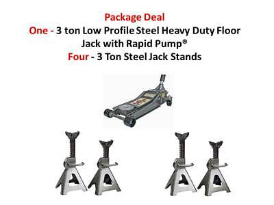 One 3 Ton Heavy Duty Steel Ultra LOW PROFILE Floor Jack & Four 3 ton Jack Stands