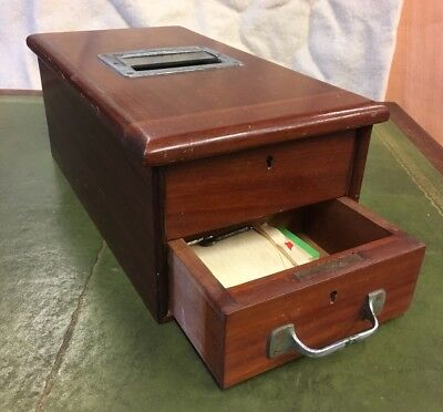 Vintage Antique Wooden Shop Cash Register Till, Working Bell With Keys. Mahogany