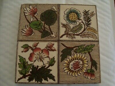 Pretty Antique Tile Aesthetic Pink and Green Floral Quadrant Design 19/107