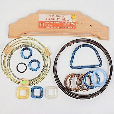 Lot of Macrame Supplies Craft Rings and Wood Hang It All for Weaving Macrame