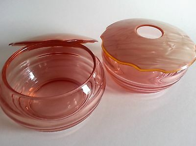 Antique Dupont Pyralin Art Deco Dresser/Vanity Set, Pearlescent Pink Celluloid