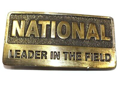 Vintage National Leader in the Field Brass Armco Inc. Belt Buckle Oil Industry