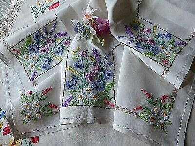 Vintage Hand Embroidered Tablecloth=Stunning Wildflower Clusters