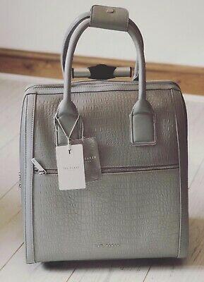 0fa2f76a9 TED BAKER silver metallic CRESSA croc travel bag and wash Bag cabin luggage