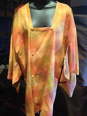 Handmade Vintage Peach Orange Flowered Silk Short Haori Kimono
