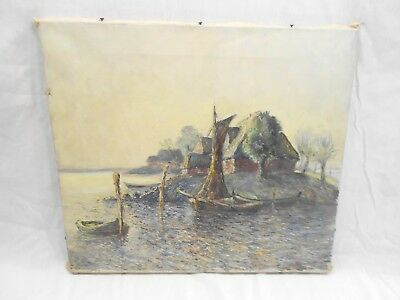 Vintage Oil On Canvas Painting Of A Lake Inlet Marina Modernist Impressionist