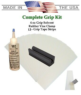 Golf Club Grip KIT 13 Tape Strips  Solvent Vise Clamp - Groove Tool MADE IN USA