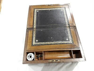 Antique portable wooden writing desk with inkwell