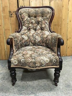 An Antique Victorian Carved Fireside Spoonback Armchair Great Shape Delivery