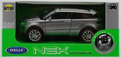 Welly Range Rover Evoque Silver 1:34 Die Cast Metal Model New In Box Land Rover