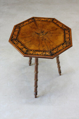 Antique Inlaid Marquetry Octagonal Occasional Lamp End Side Table