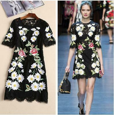 Womens Lace Embroidered Flower Occident Runway 2019 Half Sleeve Dress Slim New