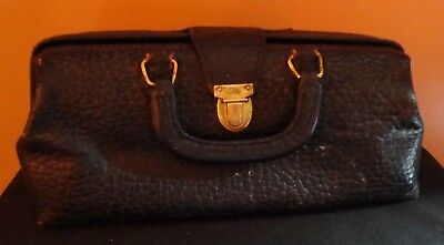 RARE ANTIQUE LILLY LEATHER & BRASS CLASP DR. MEDICAL BAG Very Collectible