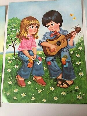"Vintage WM OTTO Big Eyed Hippy Bo-Ho Chic Guitar Litho 1970/""s Made in USA 12 x9"