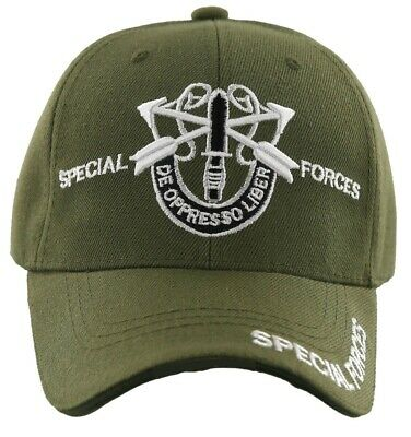 b338276780386 US Army SPECIAL FORCES Ball Cap Green Beret Ranger Airborne De Oppresso  Liber OD