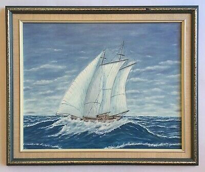 Vintage Sailing Ship Yacht Seascape Oil Painting on Board signed J. F. Donnelly