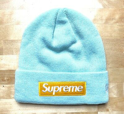 e8731e547 NEW SUPREME BOX LOGO ICE BLUE YELLOW Beanie FW17 In Hand 100 ...