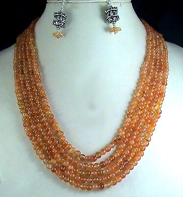 390Cts NATURAL CARNELIAN BEADS ROUND SHAPE 5 STRAND NECKLACE WITH EARRINGS