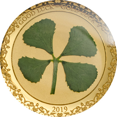 "Palau 2019 1$ ""Four Leaf Clover"" 1g .9999 Gold Proof Coin. Limited Edition"