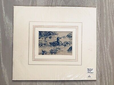 Antique French Toile sampler 18th Century Blue & Cream Duck In Pond Waterlilies