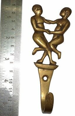 A Vintage Brass made Unique 'TWO DANCING MEN' Designed COAT HOOK from India