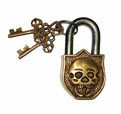 An unusual rare Brass made SKULL designed PADLOCK with 2 keys from India