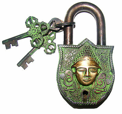 An Unusual Brass made unique BUDDHA FACE MANTRA PADLOCK 2 keys from India