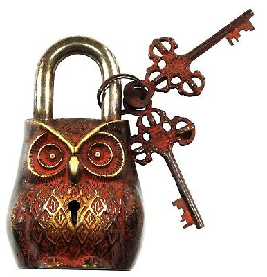 Antique style Unusual unique OWL design Brass made Padlock & 2 keys From INDIA