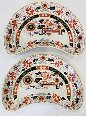 Antique Pair of Ashworth Bros Hanley Imari Kidney Shaped Dishes Plates  c1880