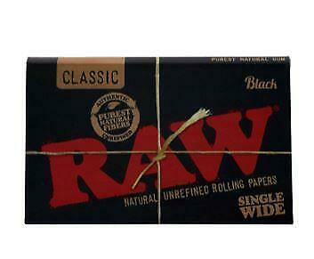 RAW Classic Black Single Wide Size Natural Unrefined Rolling Papers x 6 Packs