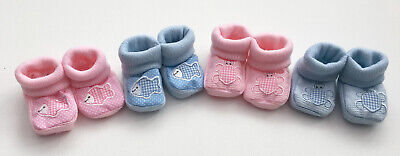 Baby Boys Girls Newborn Blue Pink Booties Soft Shoes Turtle Fish
