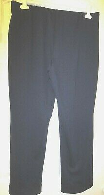NWOT Womens Dennis Basso Pintuck Ponte Knit Ankle Length Pants - Navy- L