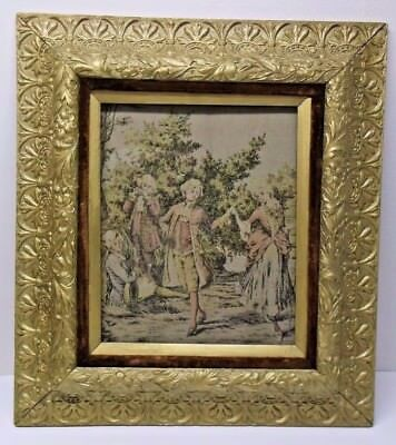 ANTIQUE VERY ORNATE FRAME FLORAL VICTORIAN with ANTIQUE FRENCH TAPESTRY