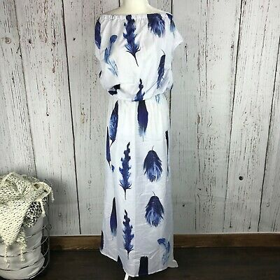 Misslook Size S Feather Print White Off Shoulder Blue Midi Knee Cover Up Dress